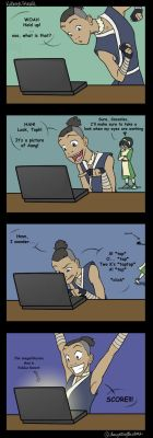 Sokka discovers DeviantART by daughterofthestars
