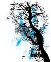 T-Shirt - Tree blue by sixslow