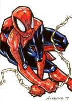 Spiderman sketch card commish by Axebone