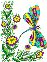 Coloring Page Dragonbutterfly By Anbeads by bbvzla