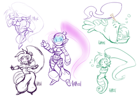 Shantae 1/2 Genie Hero sketches by gunmouth