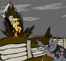 Franklin D. Roosevelt with a claymore riding AJ by mrwoo6