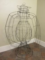 Wire Sculpture of Oil Based Lamp by Peekodemeeko12