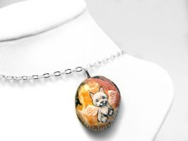 White Terrier Pendant Necklace by sobeyondthis