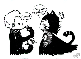 Loki And Tom fighting over pudding by michfranc