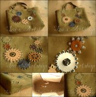 Casual Steampunk Nubuck Tote Bag by izasartshop