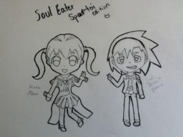 200th Deviation: Maka and Soul Spartoi (uncolored) by Artistic-Resonance
