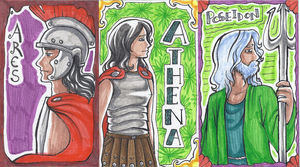 Ares, Athena, and Poseidon
