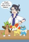 Professor Sycamore and Starter Pokemon by MCsaurus