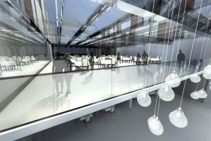 Glass cube - structural glass design - Restaurant by DarkUmah