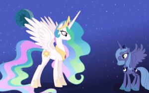Princess Celestia and Princess Luna wallpaper by slo-momo
