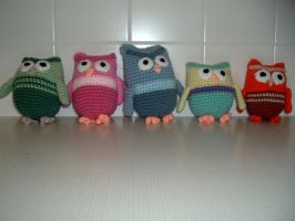 Owl family finished by Nanettew9