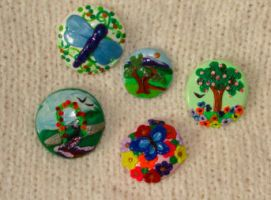 miniature floral magnets by KRSdeviations