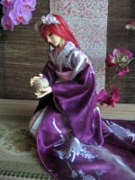 BJD kimono, Playing with Temari ball by InarisansCrafts