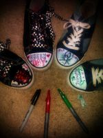 Green Day and My Chemical Romance Shoes by WhisperingWonderWolf