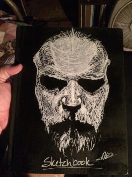 Sketchbook cover self-portrait by greybear91