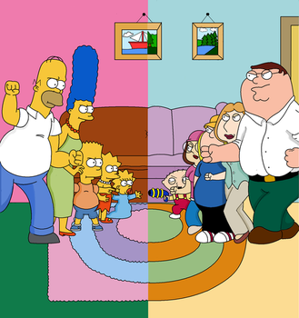 The Simpsons vs. Family Guy by LJDuey
