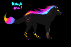 Colorful Flame Wolf Adoptable CLOSED by TheFireGypsy