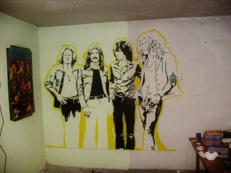 Led Zeppelin Wallpainting WIP by Burkpuk