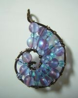 Blue and Purple Wire Wrapped Seashell Pendant by RachaelsWireGarden