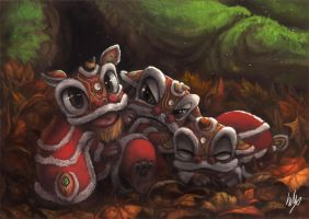 Chinese lions by Silverfox5213