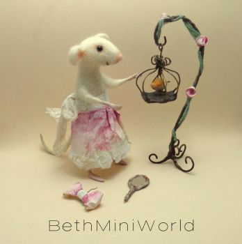 Wire birdcage with needle felted bird by BethMiniWorld