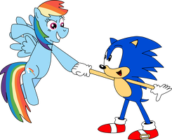 Sonic and Rainbow Dash by Mighty355