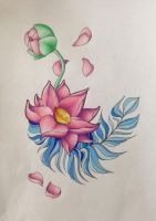 Lotus Flower with feather by The-cute-cat