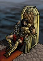 King Conan on the throne color by RubusTheBarbarian