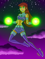 Starfire's starbolts by STERNFEUERR