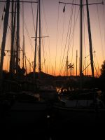 Boats With Sunset. by HaanaArt