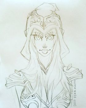 Sketch of Ashe from League of Legends by DreeBear