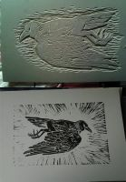 Dead Bird Linocut by Maquenda