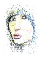 Pointillistic Girl by youngchristianartist