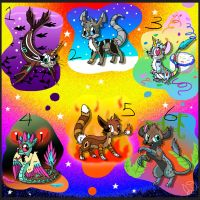 6 Free Adoptables ~Closed by Electric-Mongoose