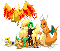 Blaze's Trainer and Pokemon by DaneeCastillo