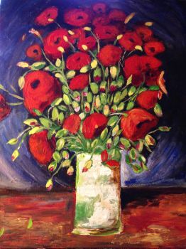 van gogh's vase with red poppies by IngridChristina