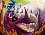 Sonic-Bad day with a dinosaur by mayshing