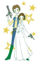 Han Solo and Princess Leia by DeedNoxious