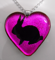 Magenta Bunny Heart Pendant by HoneyCatJewelry