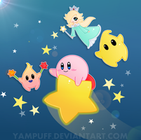 Kirby and the Lumas by YamPuff