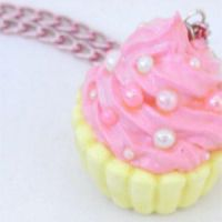 Yellow Pink Cupcake Necklace by karanuku