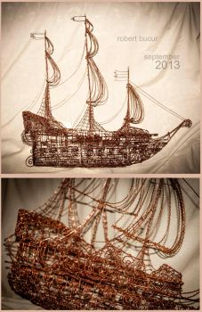 Pirate Ship - copper wire (wire art) by robytoxic