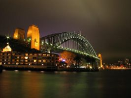 sydney harbour bridge at night by syncore