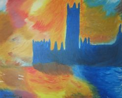 Reproduction of Monet's Houses of Parliament Sunse by brooke1110