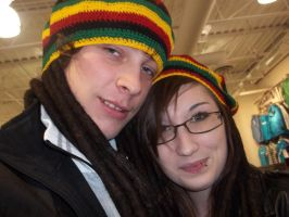 Me and Nicole with our stoner hats by gethro92