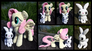 Fluttershy and Angel Custom Plushes by XNightMelody