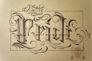 STREET SHOP SCRIPT LETTERING - NATIVE PRIDE by 814CK5T4R