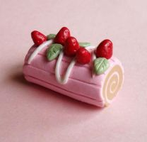 Strawberry Roll Cake Pendant by FatallyFeminine