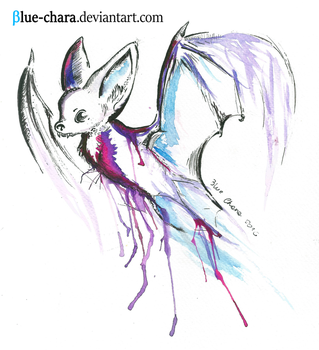 Watercolor bat by Blue-Chara